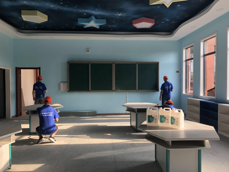 教室墙面全方位喷涂施工